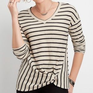 Maurices Striped Twist Hem Sweater
